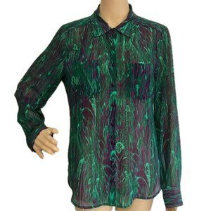GUESS Sheer Blouse Button Front Green M